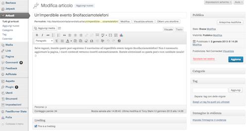 Creazione della pagina del liveblog
