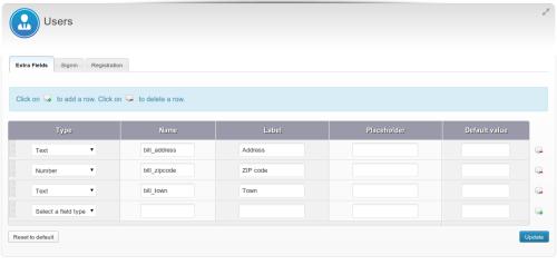 Field addizionali per gli utenti