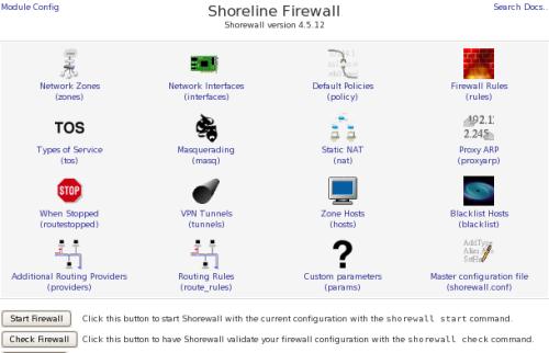 Shorewall configurazione Webmin