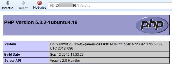 informazioni su PHP