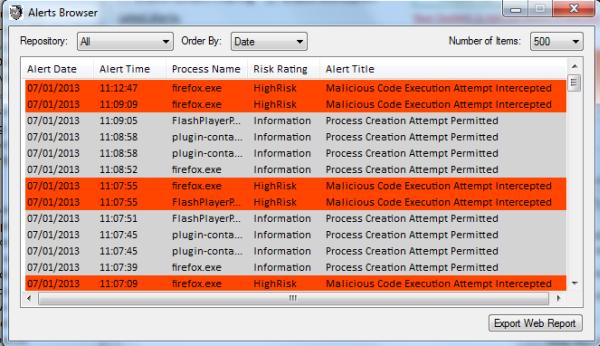 Finestra Alerts Browser