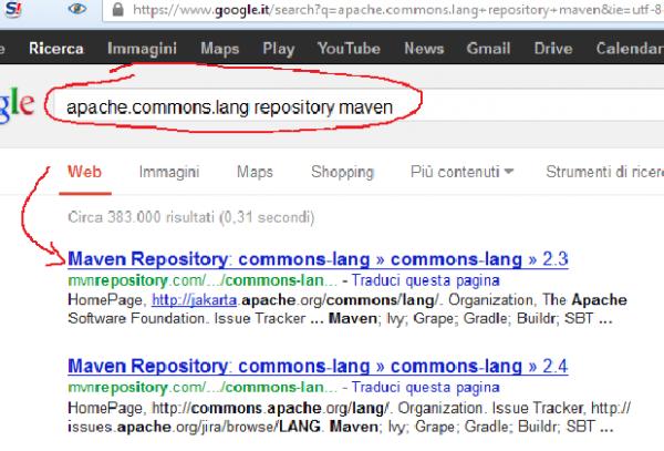ricerca di apache commons sul sito Maven repository