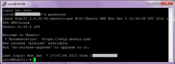 login SSH con Putty