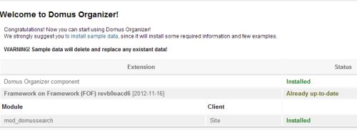 Schermata di benvenuto in Domus Organizer per Joomla
