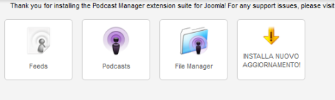 Podcast Manager nel menu di Joomla