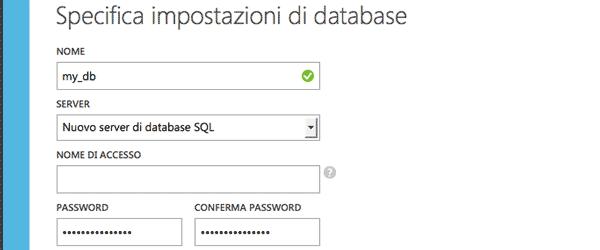 Impostazioni del database