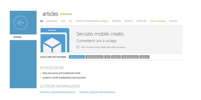 Creare un servizio mobile e una tabella   App iOS con Azure