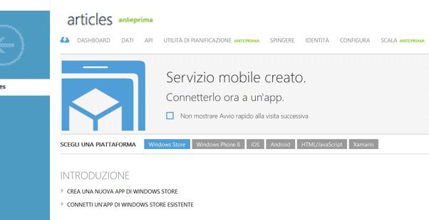 Dettaglio del servizio mobile
