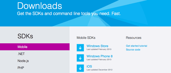 Download SDK di Windows Azure per iOS