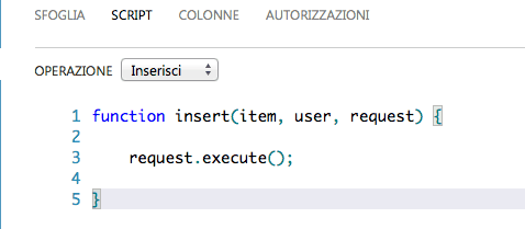 Interfaccia per definire uno script
