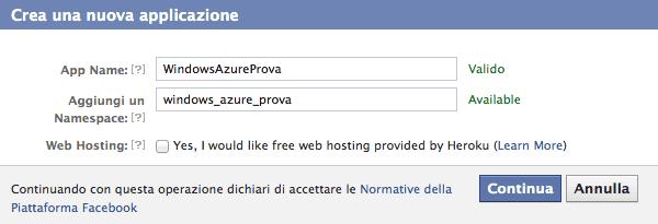 Definire l'applicazione Facebook
