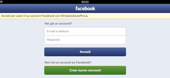 Accesso tramite Facebook