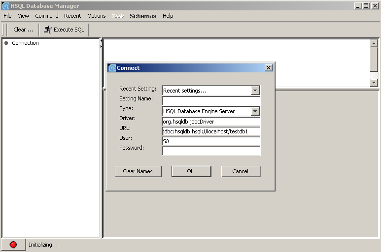 Database Manager e connessione a un db