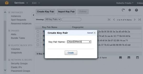 Schermata di creazione della coppia di chiavi, dopo la quale viene scatenato il download della chiave privata