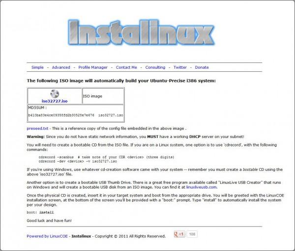 Instalinux alla fine della procedura di creazione della distribuzione personalizzata