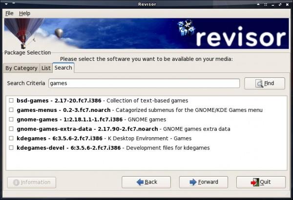 La finestra di ricerca dei pacchetti su Revisor (fonte: revisor.fedoraunity.org)