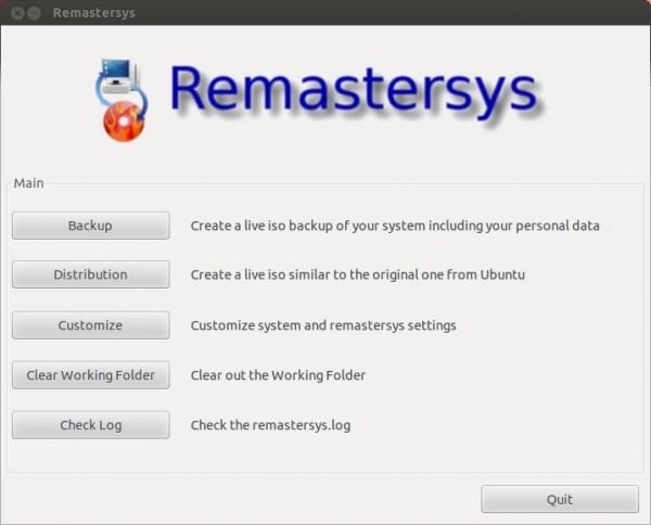 L'interfaccia grafica di Remastersys