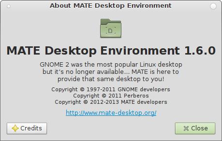 """La schermata """"About"""" di MATE 1.6"""