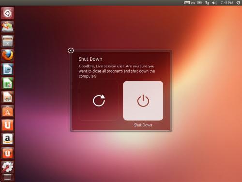 Il nuovo design della finestra popup di logout e arresto del sistema su Ubuntu 13.04