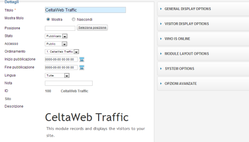 Personalizzare CeltaWeb Traffic per Joomla