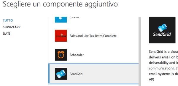 Scegliere il componente SendGrid