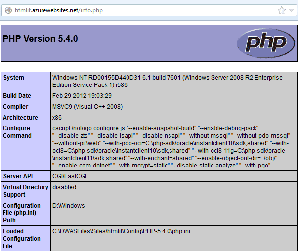 Informazioni sulla versione corrente di PHP