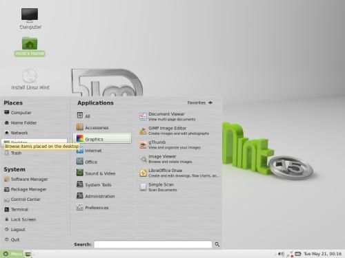 Il desktop di MATE 1.6 su Linux Mint 15