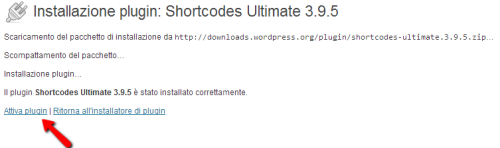 Attivazione di ShortCodes Ultimate per WordPress