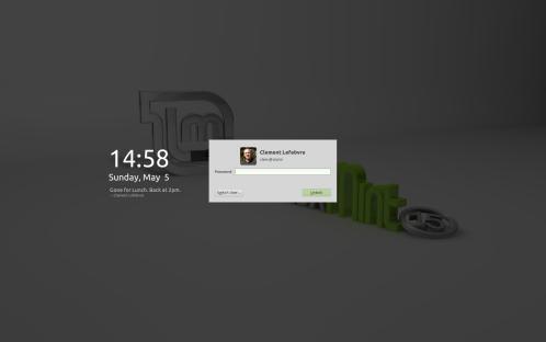 La lock screen / screensaver personalizzabile di Linux Mint 15 (fonte: www.linuxmint.com)