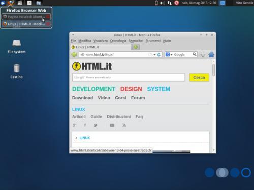 La lista delle finestre di DockbarX, personalizzabile anch'essa