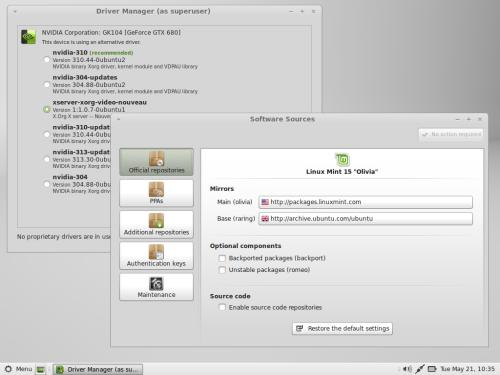 Drivers Manager e Software Sources su Linux Mint 15
