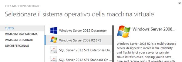 Selezione del sistema operativo da virtualizzare