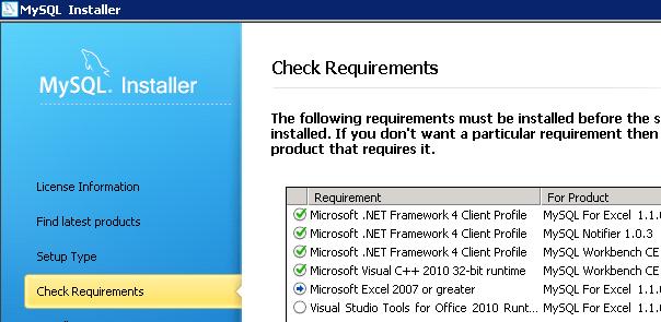 Controllo sui requisiti per l'installazione