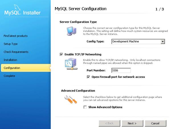 Configurazione dell'engine MySQL