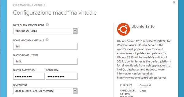 Opzioni per la configurazione della Macchina Virtuale
