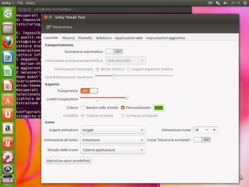 Il Launcher di Unity, con un colore personalizzato di sfondo ma la trasparenza non funzionante