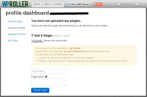 Dashboard di WPRoller per WordPress