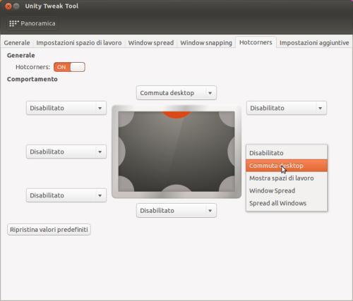 Assegnazione delle azioni agli hotcorners mediante Unity Tweak Tool