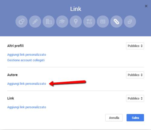 Modifica del profilo Google+ per il matching