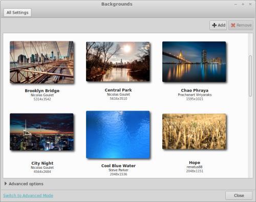 Alcuni degli sfondi fotografici disponibili su Linux Mint 15