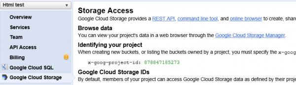 Console Cloud Storage