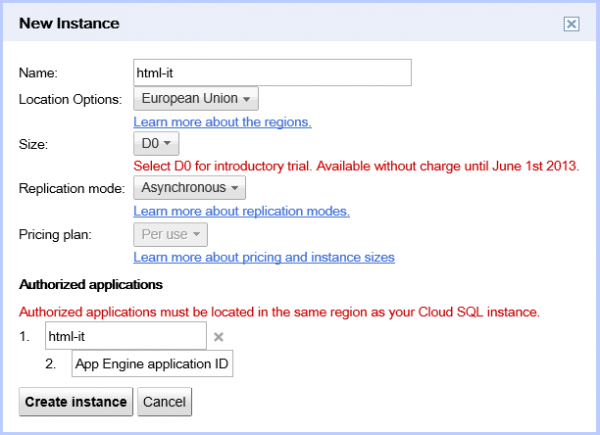 Creazione di una istanza dedicata Cloud SQL