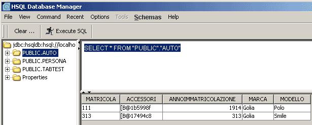 Una vista del database al termine del main