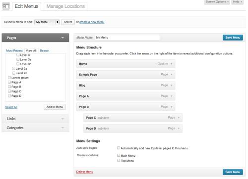 La nuova interfaccia dei menu di WordPress 3.6