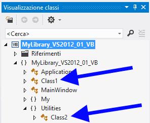 Gerarchia delle classi nella finestra Visualizzazione classi