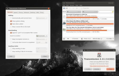 L'interfaccia GTK+ di Transmission (fonte: transmissionbt.com)