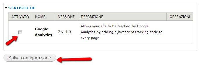 Configurazione del modulo Google Analytics