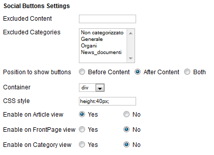 Setting the social buttons