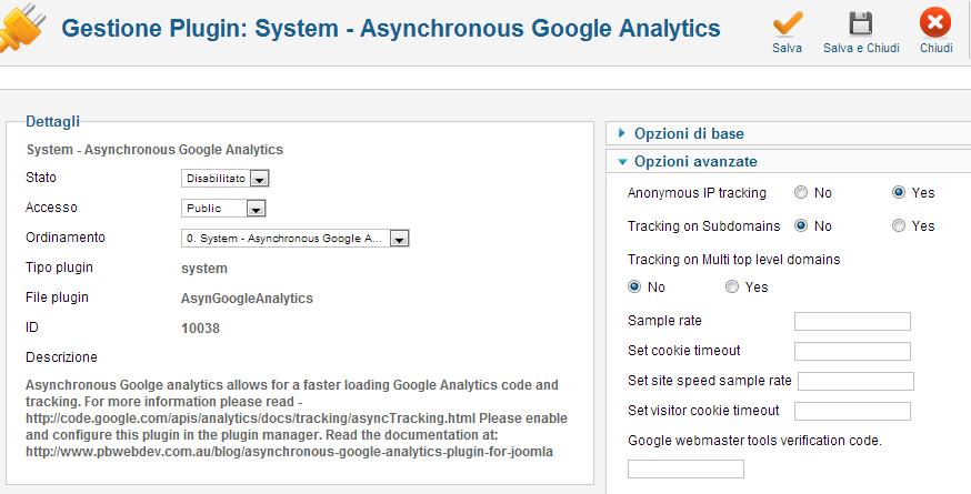 Configurazione di Asynchronous Google Analytics Plugin
