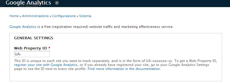 Inserimento del Web Property ID di Google Analytics